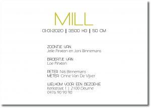 Geboortekaartje Collectie Mill